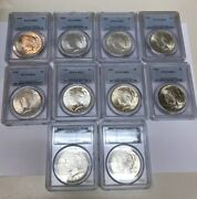 Lot Of 10 1924 Peace Silver 1 Dollar Pcgs Ms63 Coins