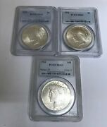 Lot Of 3 1922 1923 Peace Silver 1 Dollar Pcgs Ms63 Coins