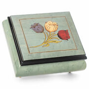 Glossy Tulips Blue Italian Inlaid Wood Jewelry Music Box Plays As Time Goes By