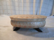 Vintage Mid Century Atomic Age Fabric Footed Musical Jewelry Box Rare