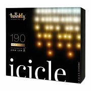 Twinkly 190 Led Amber And White 16x2 Ft Bluetooth Outdoor Christmas Icicle Lights
