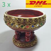 3 X Thai Vintage Wooden Phan Tray With Pedestal Northern Patterns Shellac Mirror