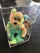 Ty Beanie Baby Peace Bear Tie Dye Retired Vibrant Color New With Case