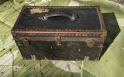 Antique 1920s Tool Box Chest Machinists Old Vintage Canvas Leather Wood Metal