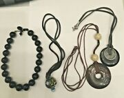 Vintage Lot Necklaces Chinese Disc's W/ Hole Leather Italian Blown Glass Ball