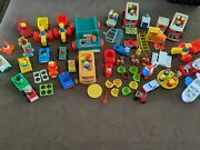 Wooden Fisher Price Little People Mixed Lot Of Cars Toys People 104 Pieces