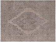 Vintage White Wash Hand Knotted Rug 9and039 9 X 12and039 7 - Q4712