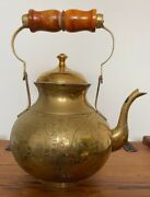 Huge Large Brass Oriental Heavily Engraved Teapot With Brass Handle