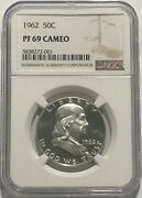 1962 Ngc Pf69 Cameo Silver Proof Franklin Half Dollar Bright White Coin 50c