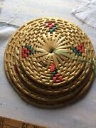 Vintage Set Of 4 Wicker Woven Straw Round Pot Holders Table Pads Trivet Heat Mat