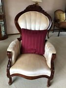 Antique Mahogany White Velvet Chair With Floral Carving Pattern