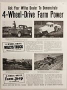 1951 Print Ad Willys Pickup Truck And Farm Jeep With Hydraulic Lift Toledoohio