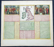 1719 Henri Chatelain Large Antique Map Great Britain And Ireland Allegorical Views