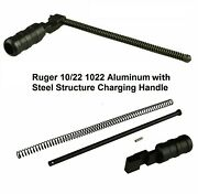 Black Ruger 1022 10/22 Extended Grooved Round Charging Handle - Aluminum