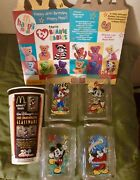 2000 Disney World Mcdonalds Set Mickey Mouse Glasses, Cup, Unused Happy Meal Box