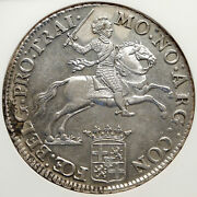1775 Netherlands Holland Ultrecht Silver Rider Ducaton Coin W Knight Ngc I85141