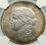 1889 Switzerland Large Antique Swiss Silver 5 Francs Coin Ngc Ms 62 I85143