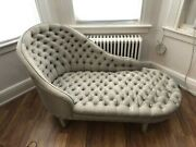 Antique Silk Upholstered Buttoned Chaise Longue Grey/green