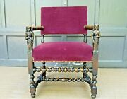 Antique French Baroque Barley Twist Arm Chair Carved Woman W Flower Hand Rests