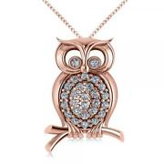 Womenand039s Diamond Accented Owl Pendant Necklace 14k Rose Gold 0.34ct