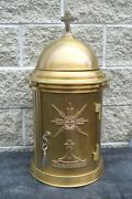+ Nice Older Traditional Bronze Tabernacle With Key + Ahb23 + Chalice Co.