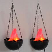 2pack Led Fake Flame Effect Lamp Torch Light Fire Campfire Centerpiece With Pot