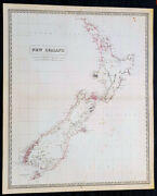 1856 A K Johnston Large Antique Map Of New Zealand