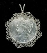 1925 United States Silver Liberty Peace One Dollar Coin And Silver Coin Bezel K017