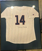 Framed Autograph Ernie Banks Russell Limited Edition Jersey Chicago Cubs Coa