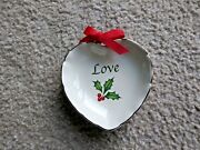 Lenox Holiday Xmas Sentiment Heart Dish And039loveand039 With Ribbon 4 Candy Nut Dish New