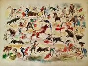 John Groth Bullfight Impressions Ink And Wash Drawing 1947 Unframed Multi Color