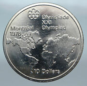 1973 Canada Queen Elizabeth Ii Olympics Montreal World Map Silver 10 Coin I85210