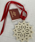 Lenox Pierced Star 3andrdquo Charm Christmas Ornament Ivory With Red Ribbon New Loose