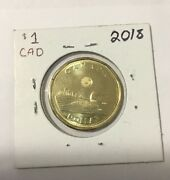 Unc 2018 Canadian 1 Dollar Loonie From Mint Roll Bu Sealed In Holder