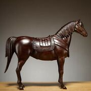 Chinese Black Rosewood Wood Hand Carved Feng Shui Animal Fine Steed Horse Statue