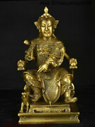 Chinese Temple Copper Brass Dragon Head Chair Erlang God Immortal General Statue