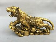 18and039and039 Brass Copper Furniture Decorate Bring Treasure Wealth Coin Animal Tiger