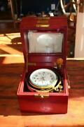 Chronometer Russian Marine Gimballed Brass With Rosewood Case