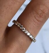 Womenand039s Vintage Diamond Eternity Band 14k Solid Gold Estate Antique Size 6