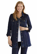 Woman Within Womenand039s Plus Size Long Stretch Denim Jacket