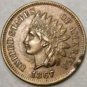 1867/67 Indian Head Cent/penny Re Punched Date Very Scarce Error Fs-301/snow 1
