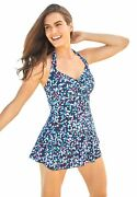 Swimsuits For All Women's Plus Sizeretro Halter Swim Dress Swimsuit Cover Up -