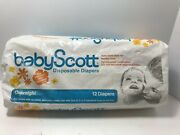 Vintage 1965 Baby Scott Disposable Diapers 10 Ct Overnight Open Package Rare