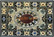 4and039x3and039 Marble Dinner Table Top Handicraft Semi Precious Interior Inlay Decor B472