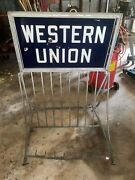Rare 1930-1940 Western Union Porcelain Double Sided Sign Bike Rack