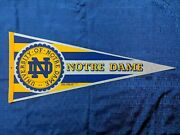 Ncaa University Of Notre Dame Vintage Pennant 12 X 30 Used W/pin Holes