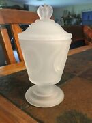 Fenton Art Glass 1976 Ncsgc Bicentennial Frosted Pedestal Compote W/lid
