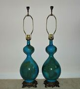 Pair Of Table Lamps Turquoise Blue Mid Century Modern C. 1971 Hollywood Regency