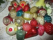 Antique Victorian Glass Christmas Ornament Lot-feather Tree-set Of 22-figural-fr