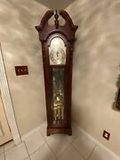 Howard Miller Mahogany Chippendale Grandfather Clock With Moon Phase Made In Usa